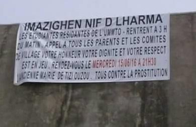 NPM : l'appel à la marche misogyne affiché à Tizi Ouzou. D. R
