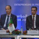 Le président du FCE et le ministre de l'Agriculture, ce matin à El-Aurassi. D. R.