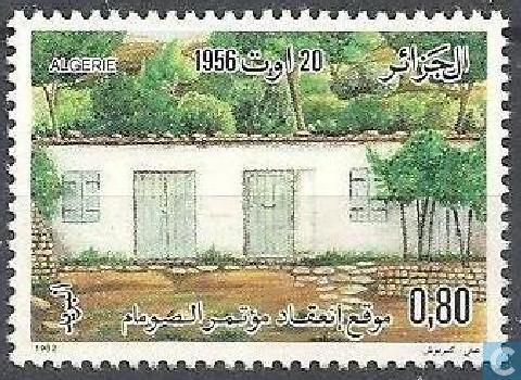 Un ancien timbre commémorant le Congrès de la Soummam. D. R.