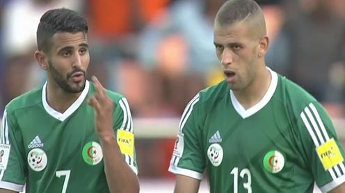 Mahrez et Slimani en sélection nationale. D. R.