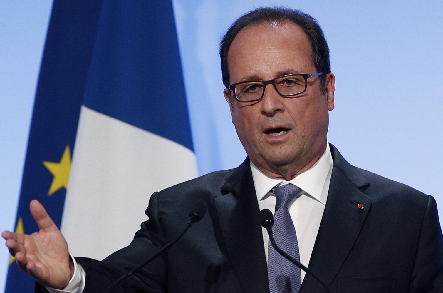 François Hollande lors de son discours ce lundi 5 septembre à Paris. D. R.