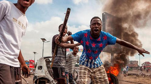 Scène de violence aujourd'hui à Kinshasa. D. R.