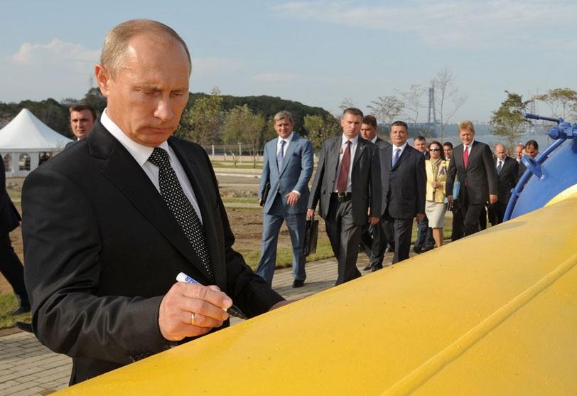Poutine inaugurant un pipeline de Gazprom. D. R.