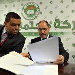 Abdallah Benadjmia avec le président du parti, Abderrezak Mokri. New Press