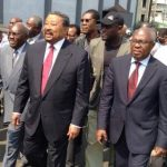 Les leaders de l'opposition à la tête d'une manifestation à Libreville. D. R.