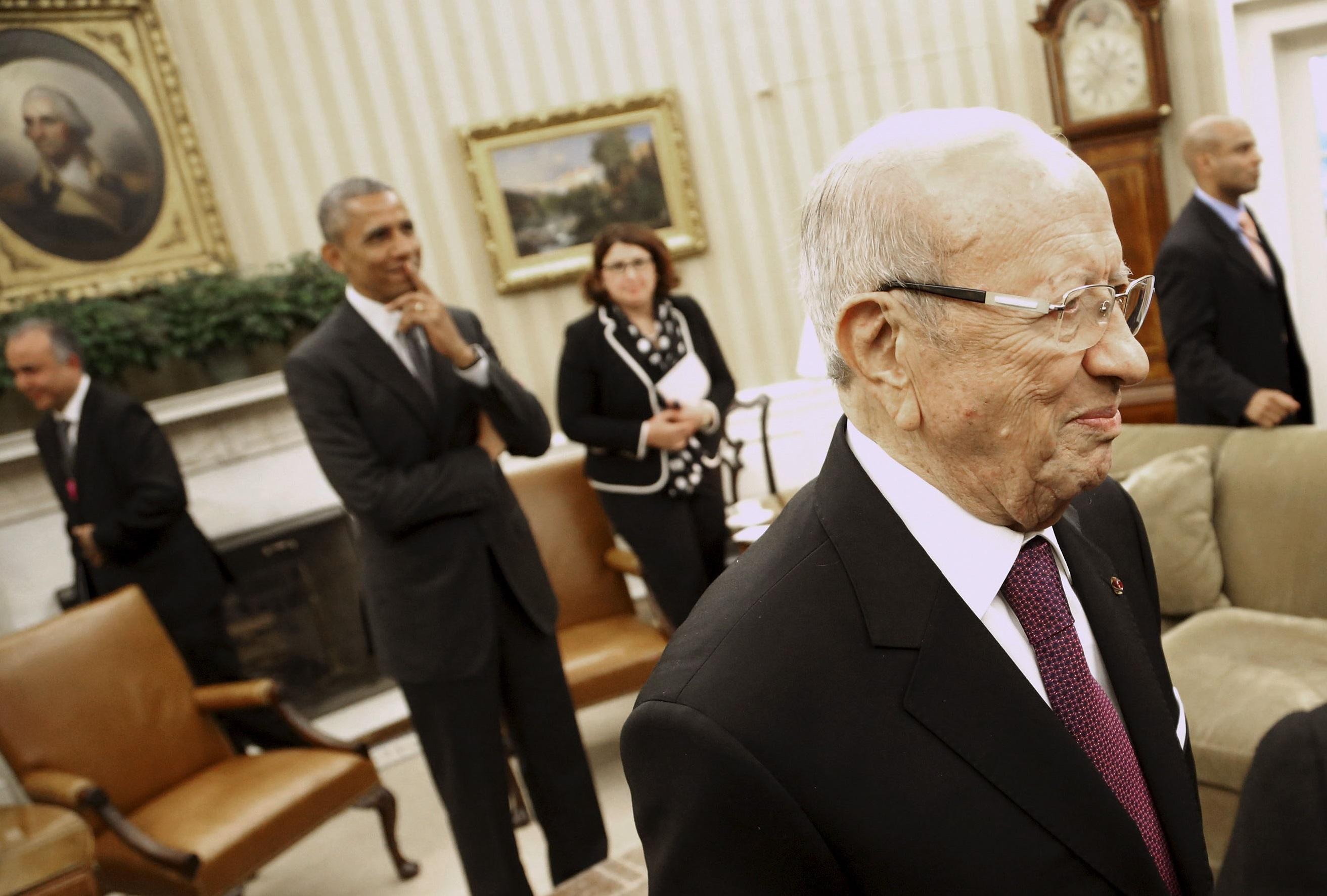 Le président tunisien Béji Caïd Sebsi reçu à la Maison-Blanche. D. R.