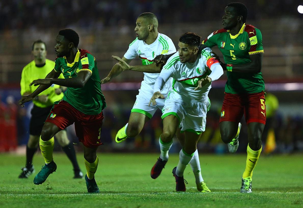 Les Verts lors du premier match des éliminatoires du Mondial-2018 face au Cameroun. New Press