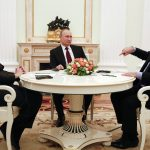 Merkel, Poutine et Hollande. D. R.