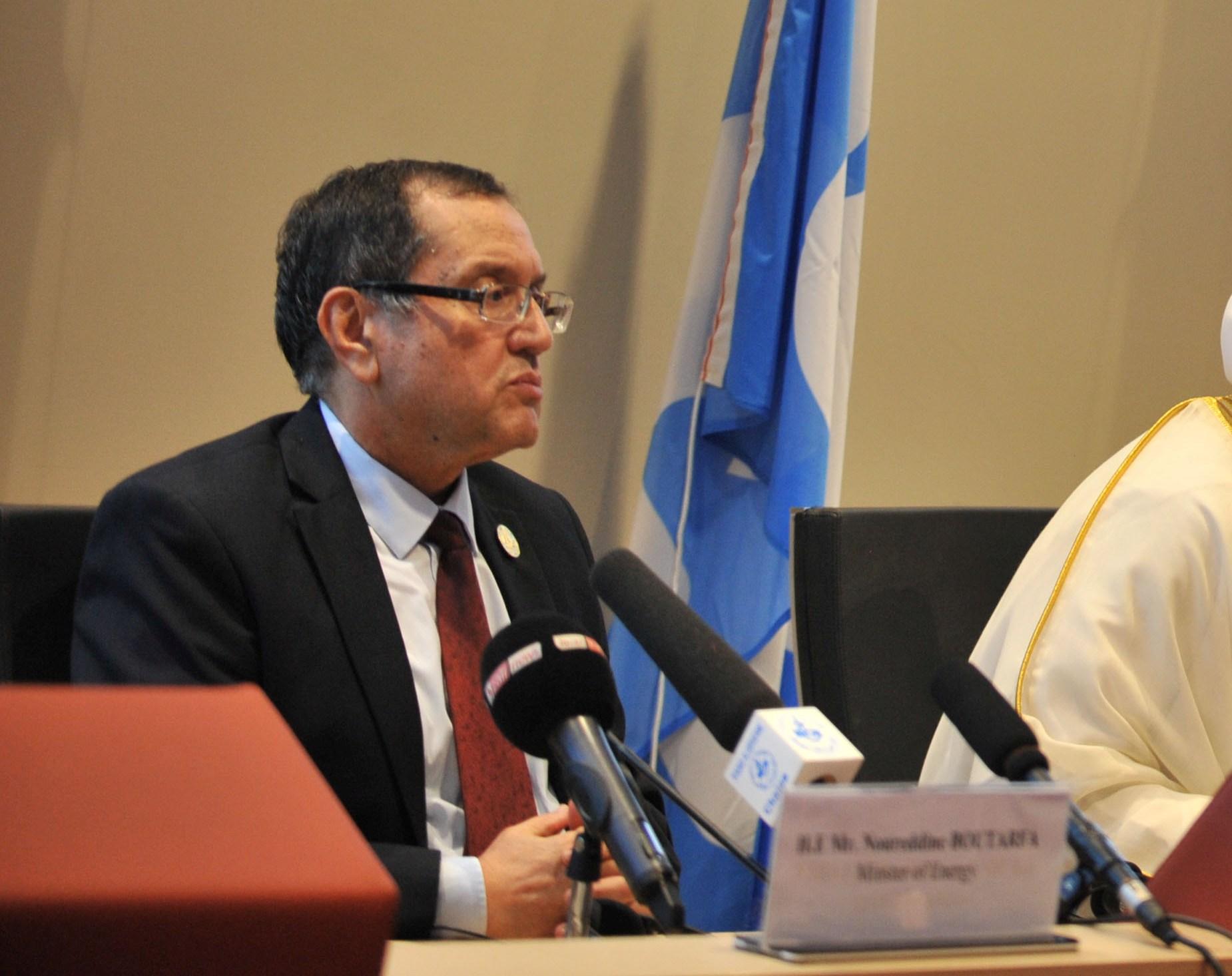 Le ministre de l'Energie, Noureddine Boutarfa, lors de la réunion d'Alger, le 28 septembre dernier. New Press