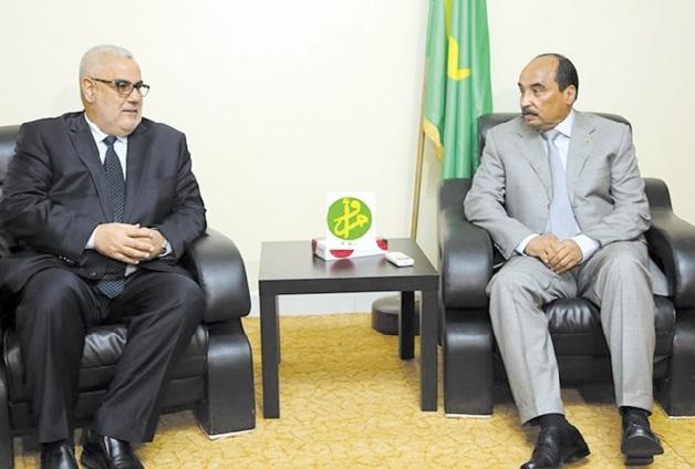 Abdelilah Benkirane en compagnie du président mauritanien à Zouirate. D. R.