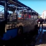 Un bus de transport public incendié. D. R.