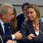 Dimitris Avramopoulos commissaire européen chargé de la Migration, avec Federica Mogherini. D. R.
