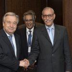 Brahim Ghali en compagnie du SG de l'ONU, Antonio Guterres. D. R.