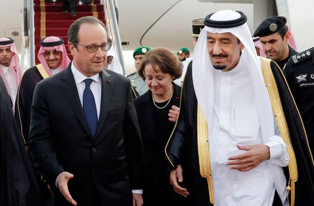 François Hollande et le roi Salman d'Arabie Saoudite. D. R.