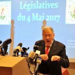 Djamel Ould-Abbès, lors de sa conférence de presse aujourd'hui. New Press