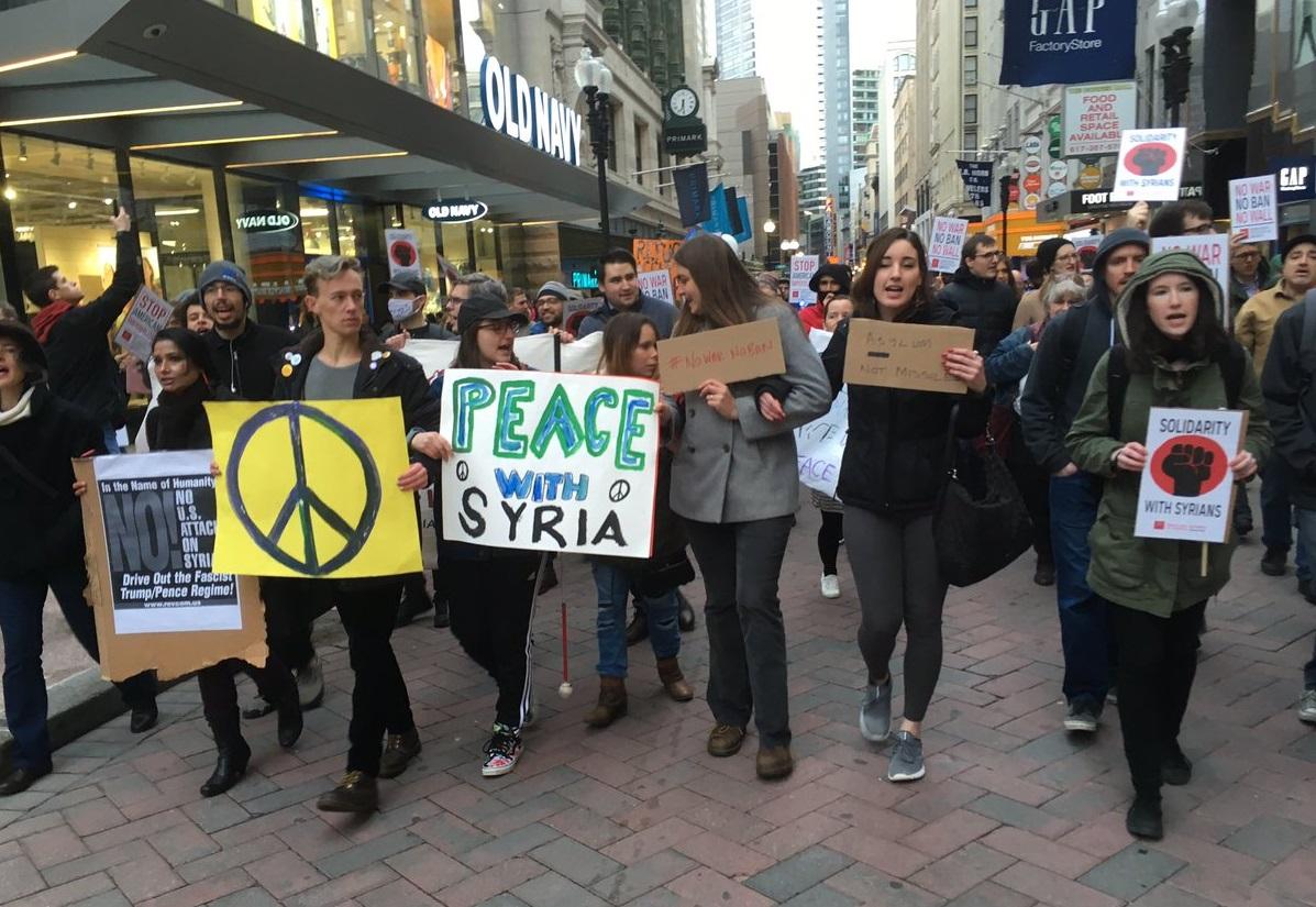 Une des nombreuses manifestations contre l'intervention des Etats-Unis en Syrie. D. R.