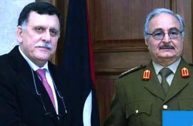 Fayez Al-Sarraj et le maréchal Haftar. D. R.