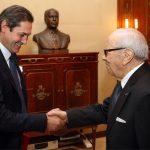 Riadh Mouakher avec le président Essebsi. D. R.
