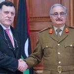 Fayez Al-Sarraj et le maréchal Khalifa Haftar. D. R.