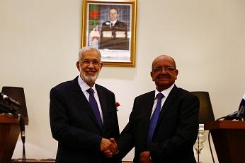 Messahel et le ministre libyen des Affaires étrangères, T. Siala, à Alger. New Press