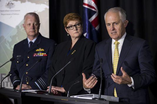 Au milieu, la ministre australienne de la Défense, Marise Payne. D. R.