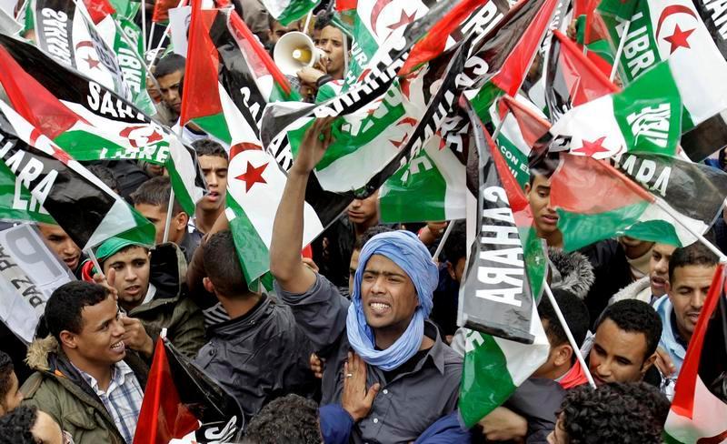 Manifestation de Sahraouis pour exiger la libération des détenus. D. R.