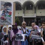 Sit-in devant le tribunal militaire de Rabat en avril 2013. D. R.