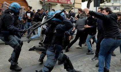 Gaz lacrymogènes et canons à eau contre des manifestants lors du G7 à Turin