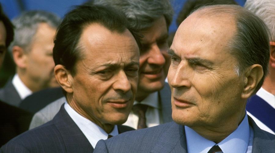 crimes, Michel Rocard et Francois Mitterrand At Memorial De La Paix