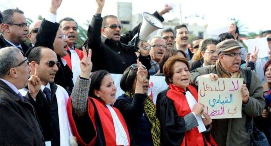 Rassemblement de protestation des magistrats à Alger. D. R.